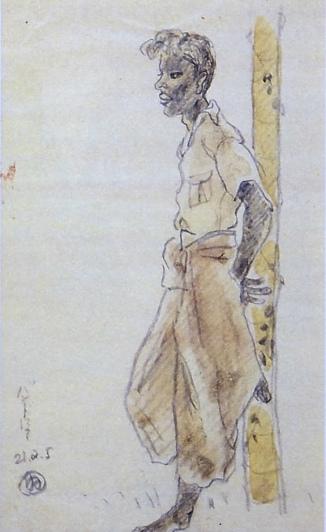 6-7ビルマスケッチ・木に凭れる青年DSF7177